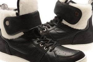 Neil Barrett Shearling Lined Leather Hi-Top Trainers