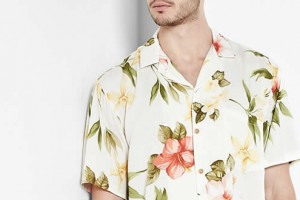 Paradise Found Cream Hibiscus Summer Print Hawaiian Shirt