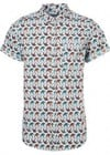 Topman Blue Swallow Pattern Short Sleeve Shirt